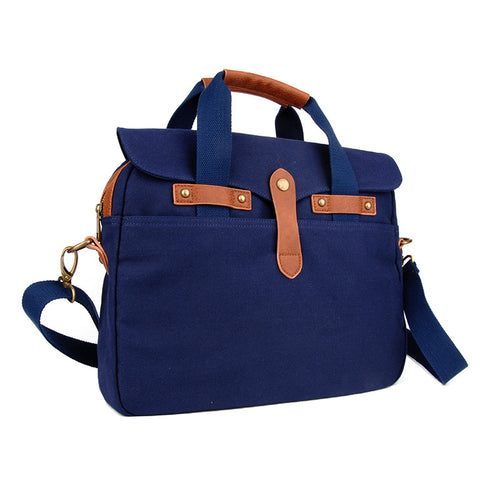 Washed Navy Canvas Briefcase