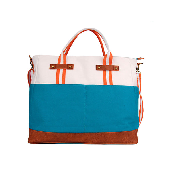 Washed Canvas All Around Bag in Cream and Turquoise Color Block