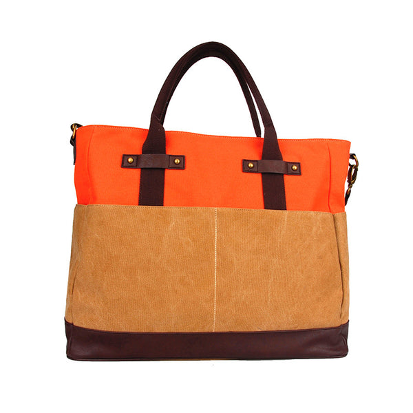Washed Canvas All Around Bag in Orange and Khaki Color Block