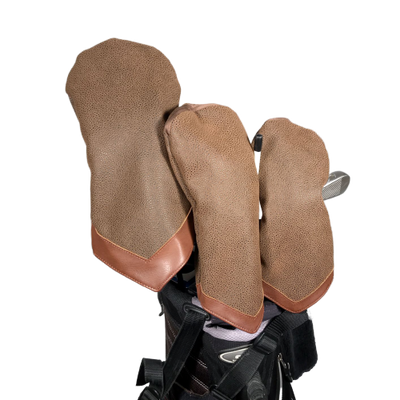 Brown Faux Suede Golf Head Cover Set