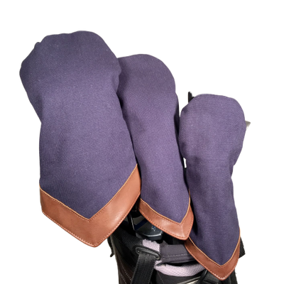 Washed Navy Canvas Golf Head Cover Set