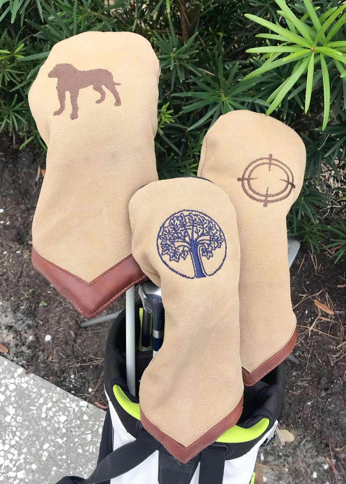 Khaki Canvas Golf Head Covers
