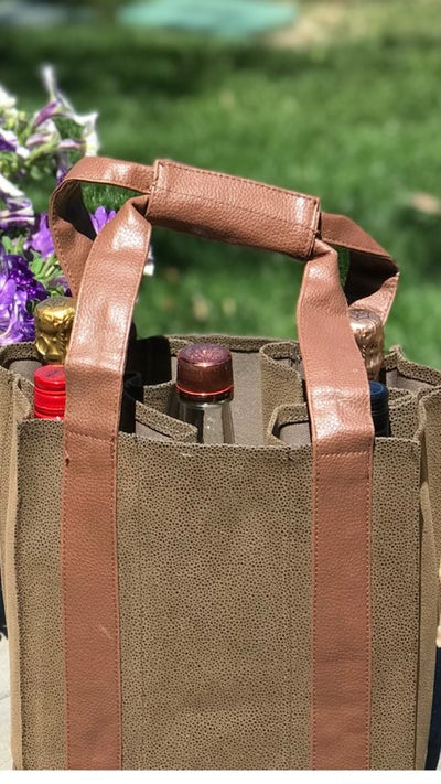 Party-To-Go Tote - Brown Faux Suede