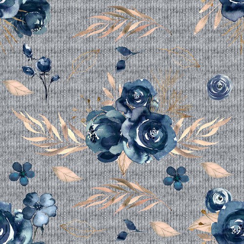 *PRE-ORDER Navy and Blush on printed sweater knit background SOLD BY THE 1/2 METRE*