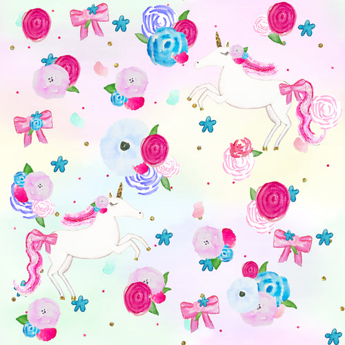 *PRE-ORDER Floral Unicorns SOLD BY THE 1/2 METRE*