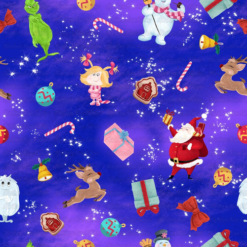 Classic Christmas Cartoons on purple and blue