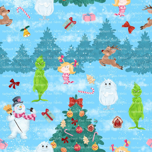 Classic Christmas Cartoons light blue