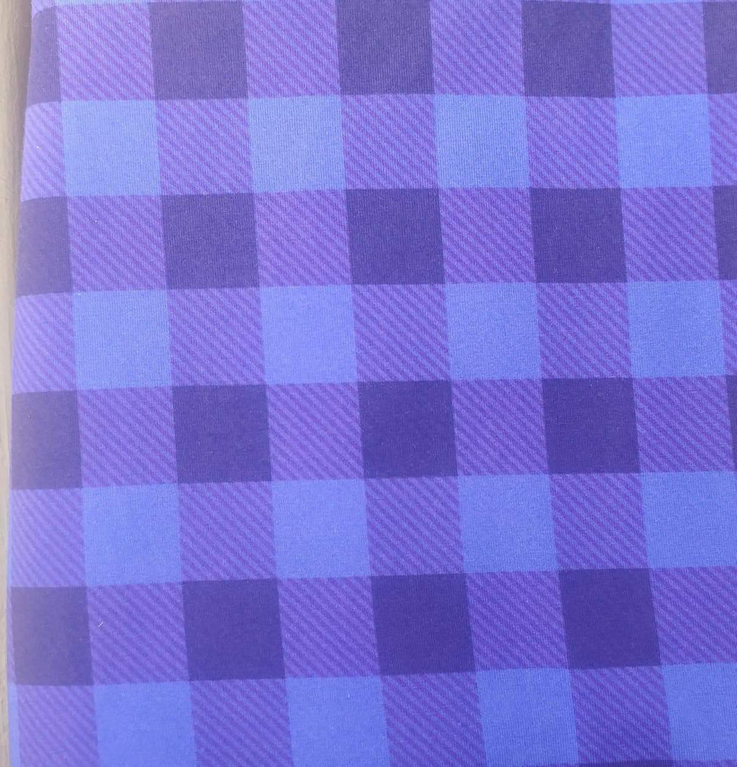 Blue/Purple buffalo plaid COTTON LYCRA flawed