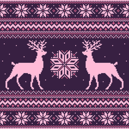 Purple Holiday Deer COTTON LYCRA sold by the metre