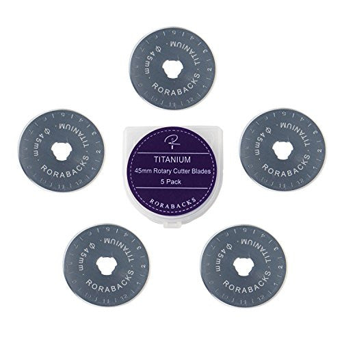 RORABACKS 45mm Titanium Rotary Cutter Replacement Blades, 5-Pack