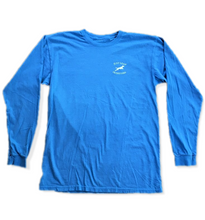 Weathered Leaping Dog Design Long Sleeve T-Shirt Blue