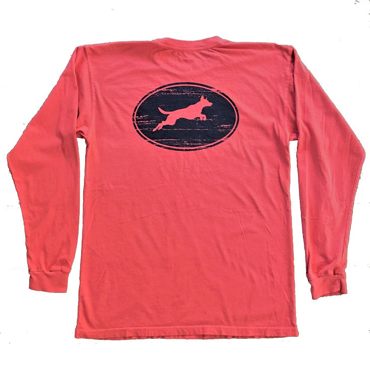 Weathered Oval Leaping Dog Design Long Sleeve T-Shirt
