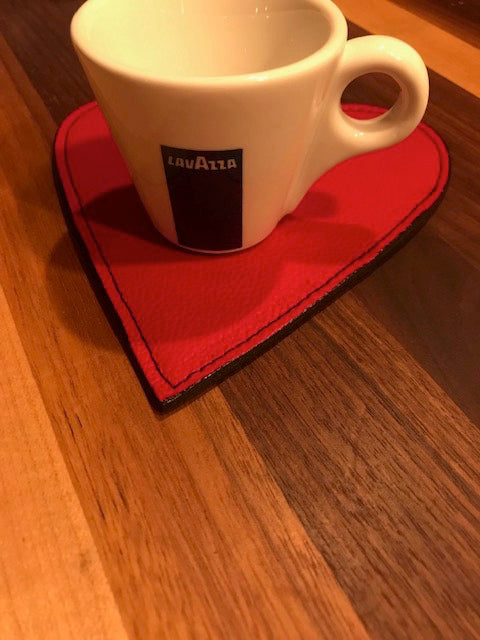 Valentine/Heart coasters, Italian leather w/black suede bottom.