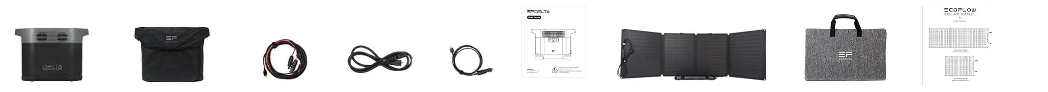 EcoFlow DELTA power station+1x110W Solar Panel What's in the Box