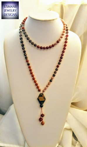 Sacral Chakra Crystal Mala Necklace. Energy Balance Prayer Beads