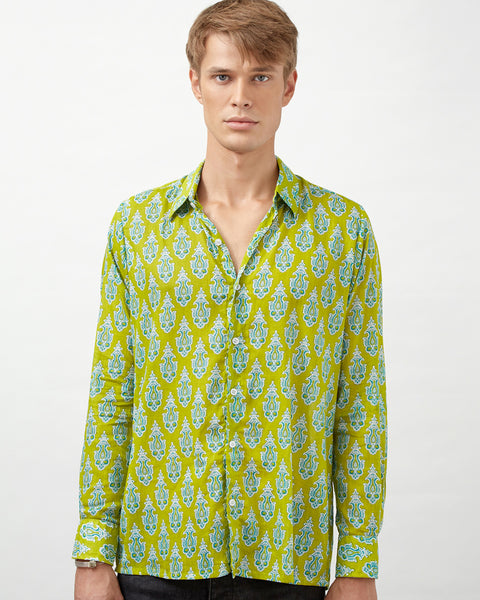 MOMBASSA SHIRT IN GREEN & GREEN