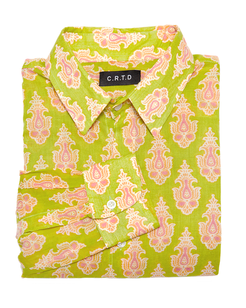 MOMBASSA SHIRT IN GREEN & ORANGE