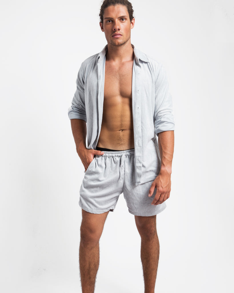LIGHT GREY TOWELLING SHORTS