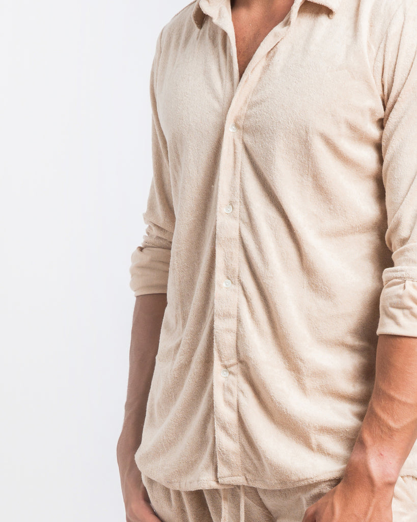 BEIGE TOWELLING SHIRT