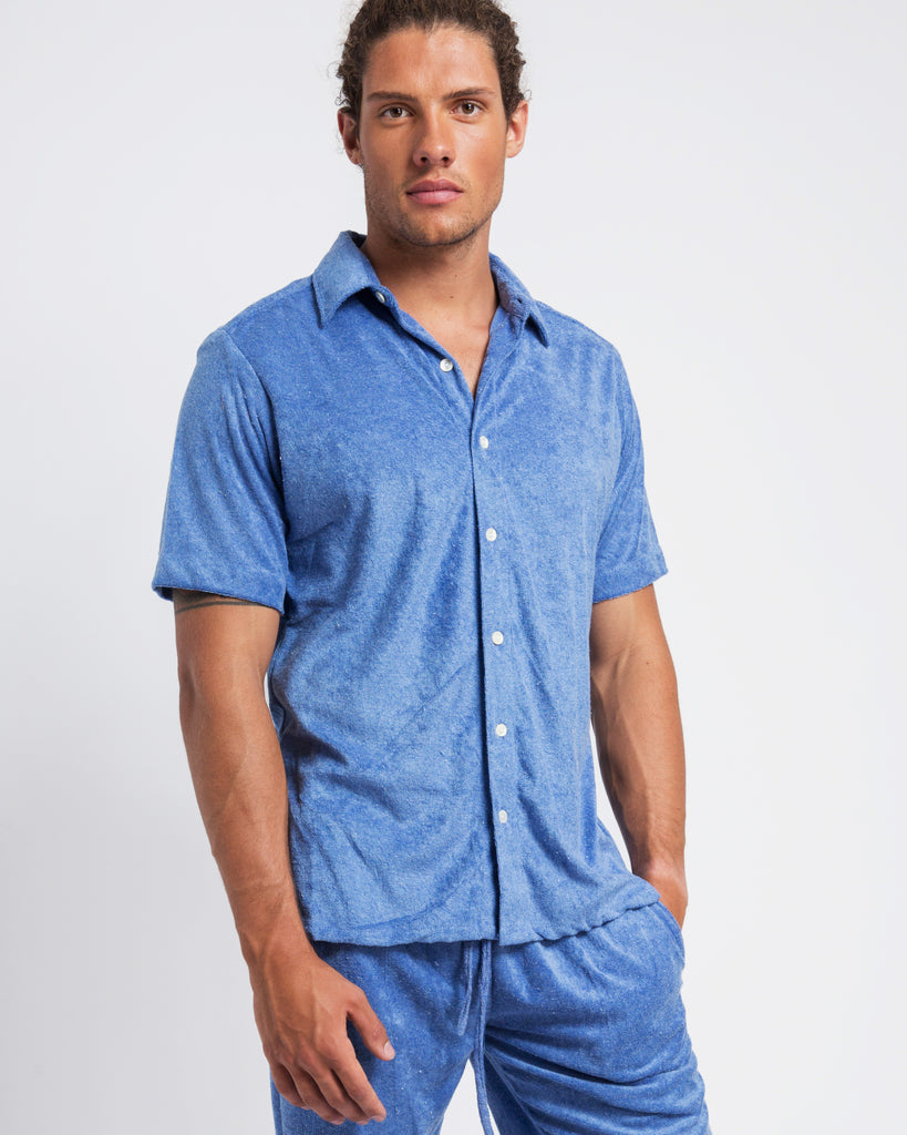 LIGHT BLUE TOWELLING SHORT SLEEVE SHIRT