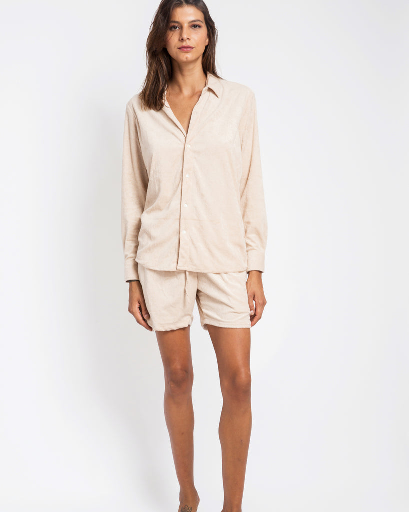 BEIGE TOWELLING SHORTS