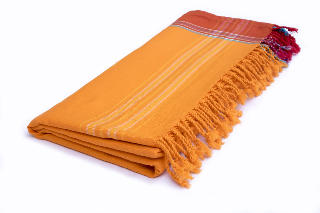 KIKOY TOWEL IN ORANGE & RED