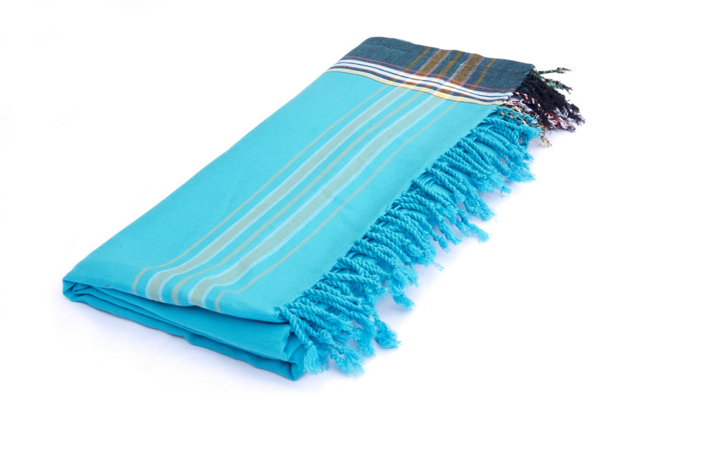 KIKOY TOWEL IN LIGHT BLUE & DARK BLUE