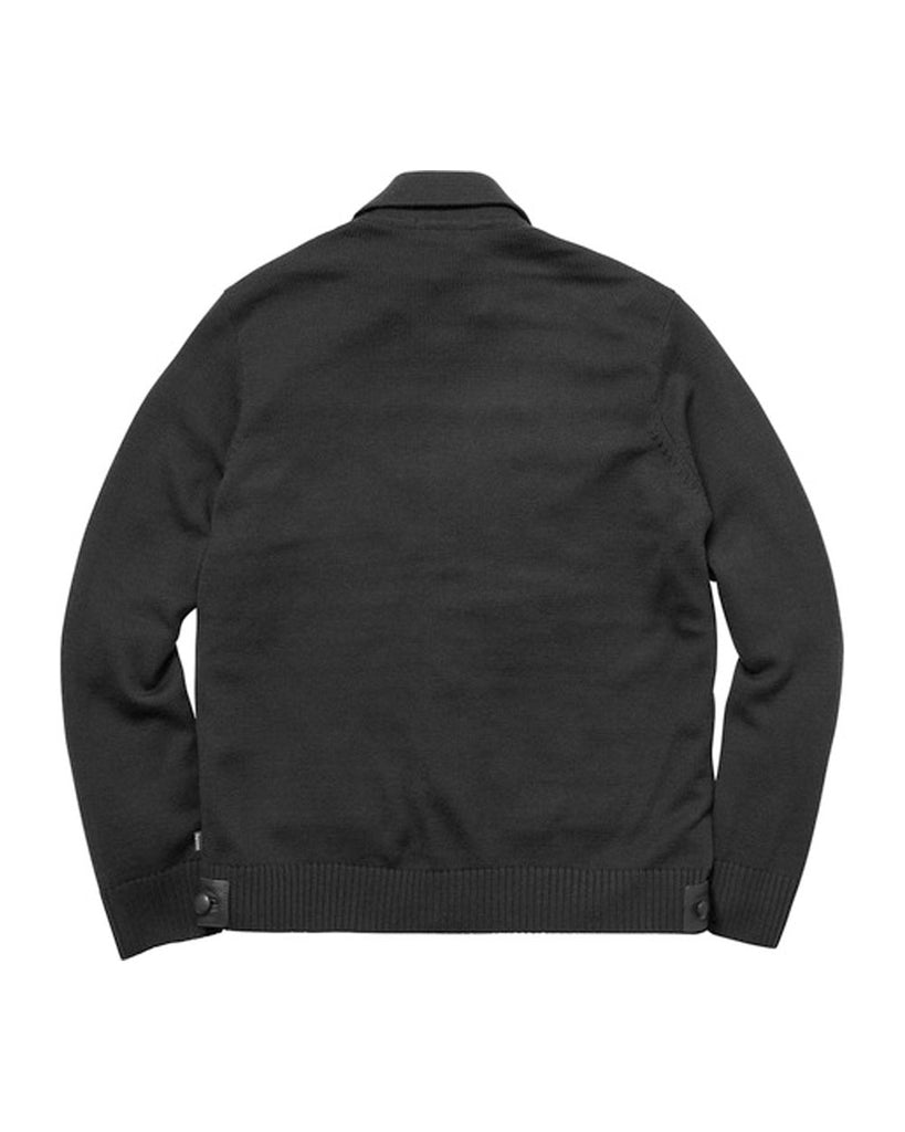Supreme FW17 Black Leather Front Polo Sweater