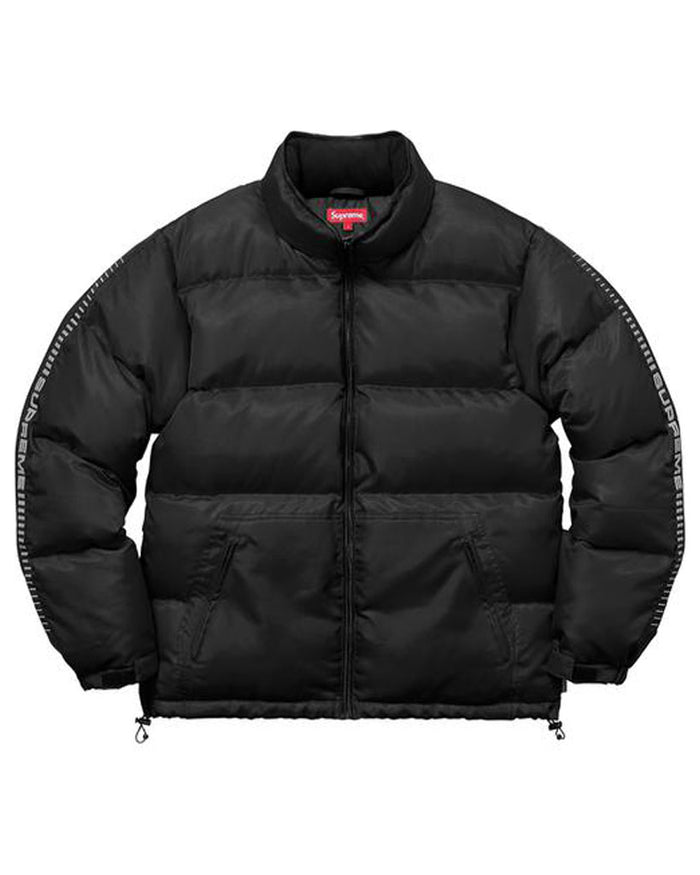 Supreme FW17 Black Reflective Sleeve Logo Puffy Jacket