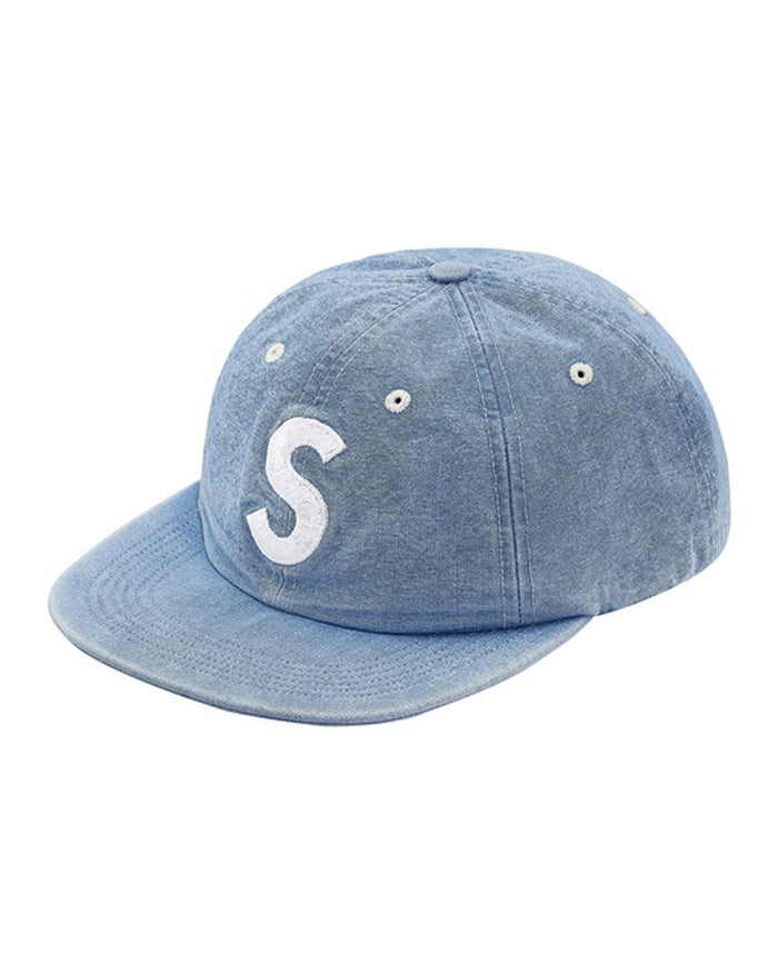 Supreme SS18 Blue Washed Chambray S Logo 6-Panel