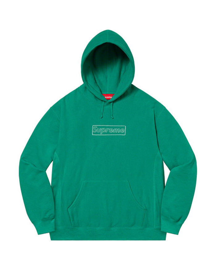 Supreme SS21 Green KAWS Chalk Box Logo Sweatshirt