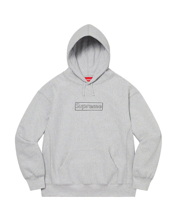 Supreme SS21 Grey KAWS Chalk Box Logo Sweatshirt