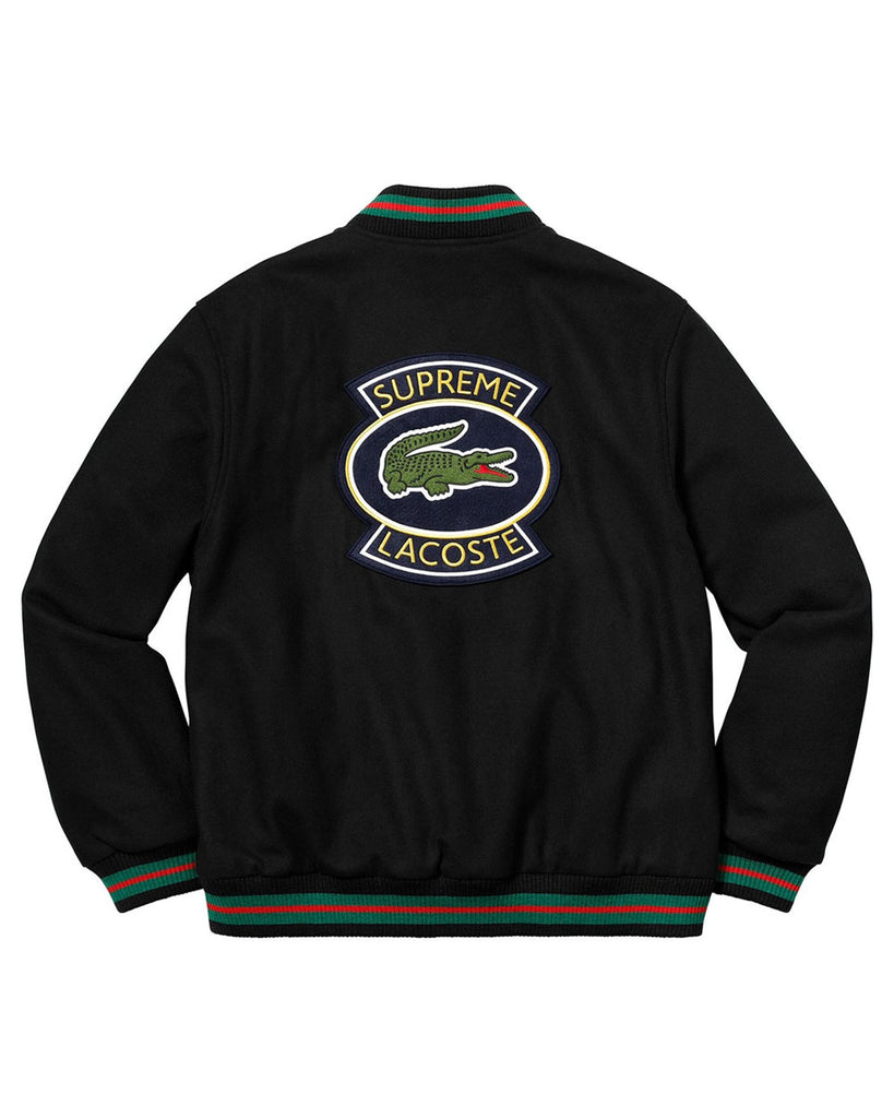Supreme SS18 Lacoste Black Wool Varsity Jacket