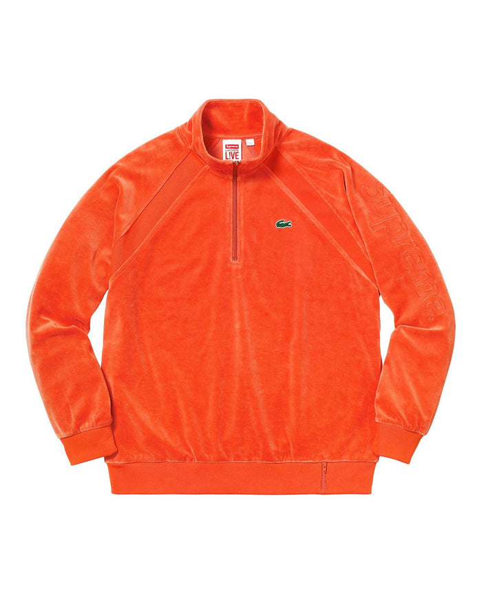 Supreme SS18 Lacoste Orange Velour Half-Zip Track Top