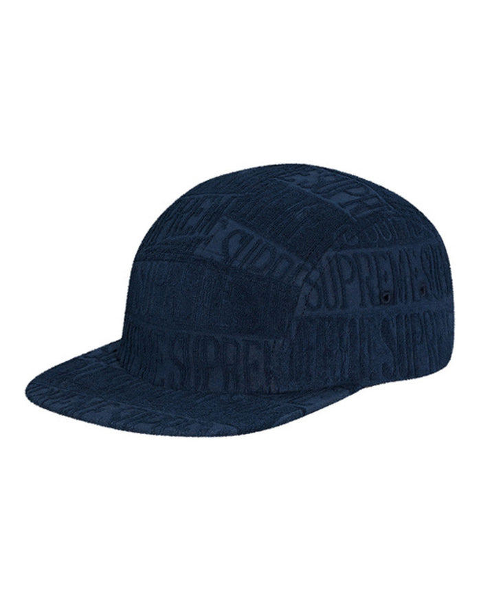 Supreme SS17 Navy Text Stripe Terry Camp Hat