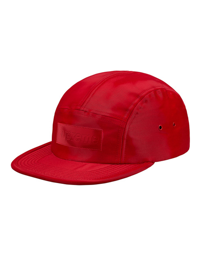 Supreme FW18 Red Patent Leather Patch Camp Hat