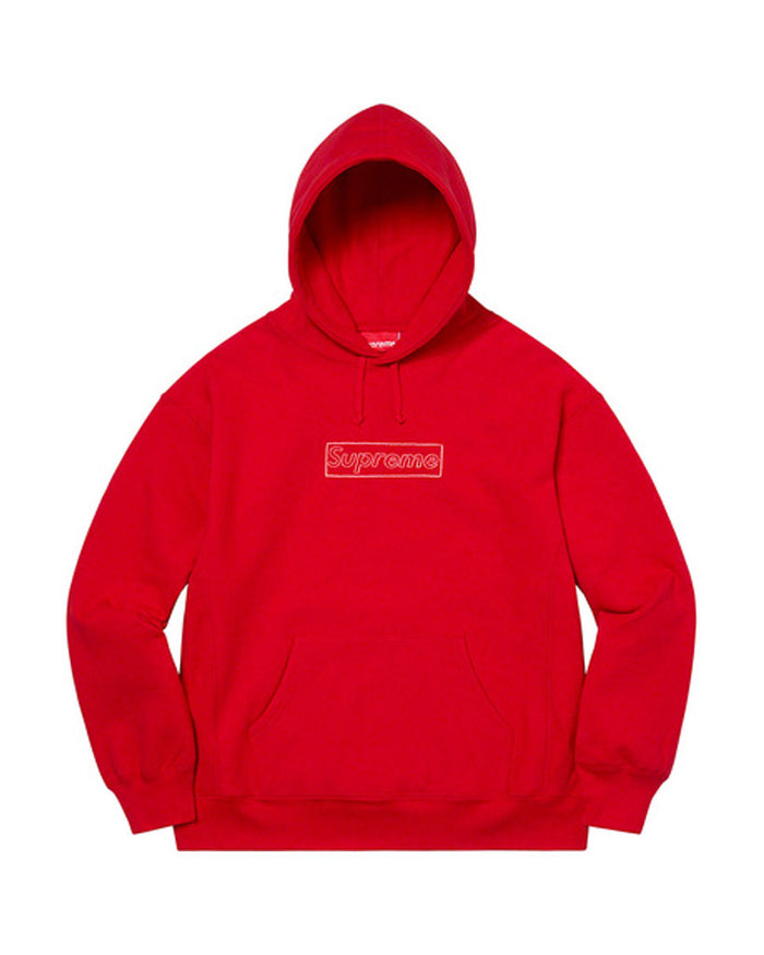 Supreme SS21 Red KAWS Chalk Box Logo Sweatshirt