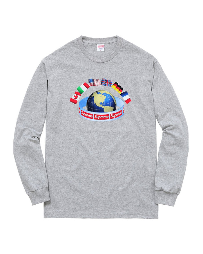 Supreme FW15 Grey Worldwide Long Sleeve