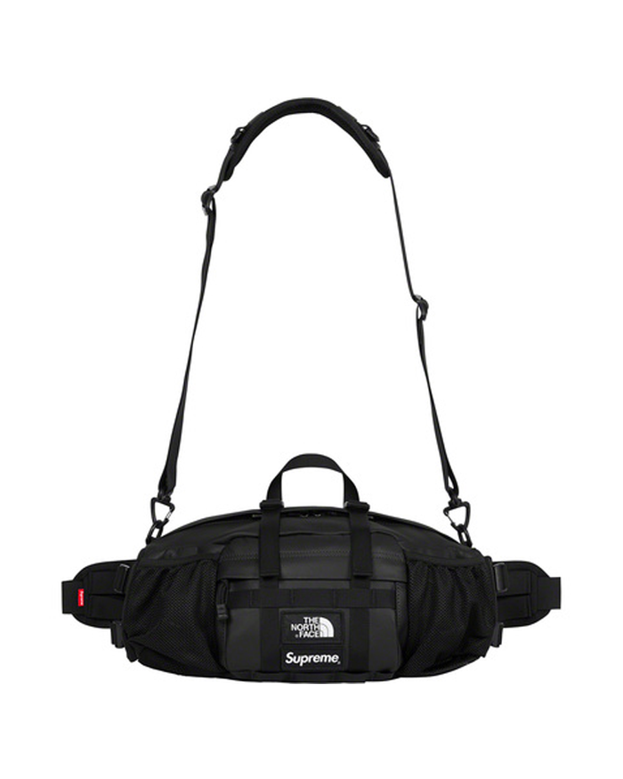 Supreme FW18 Black Leather North Face Waist Bag