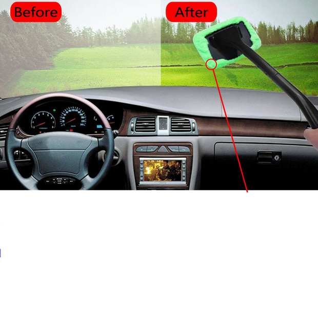 Windshield Wonder Cleaning Tool | Glass Window Cleaner with 2 pads