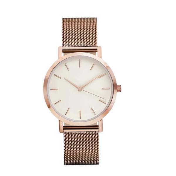 Fashion Simple Stylish Top Brand Women Watches Stainless Steel Mesh Strap Quartz-watch Thin Dial Men Watch Clock Reloj Mujer