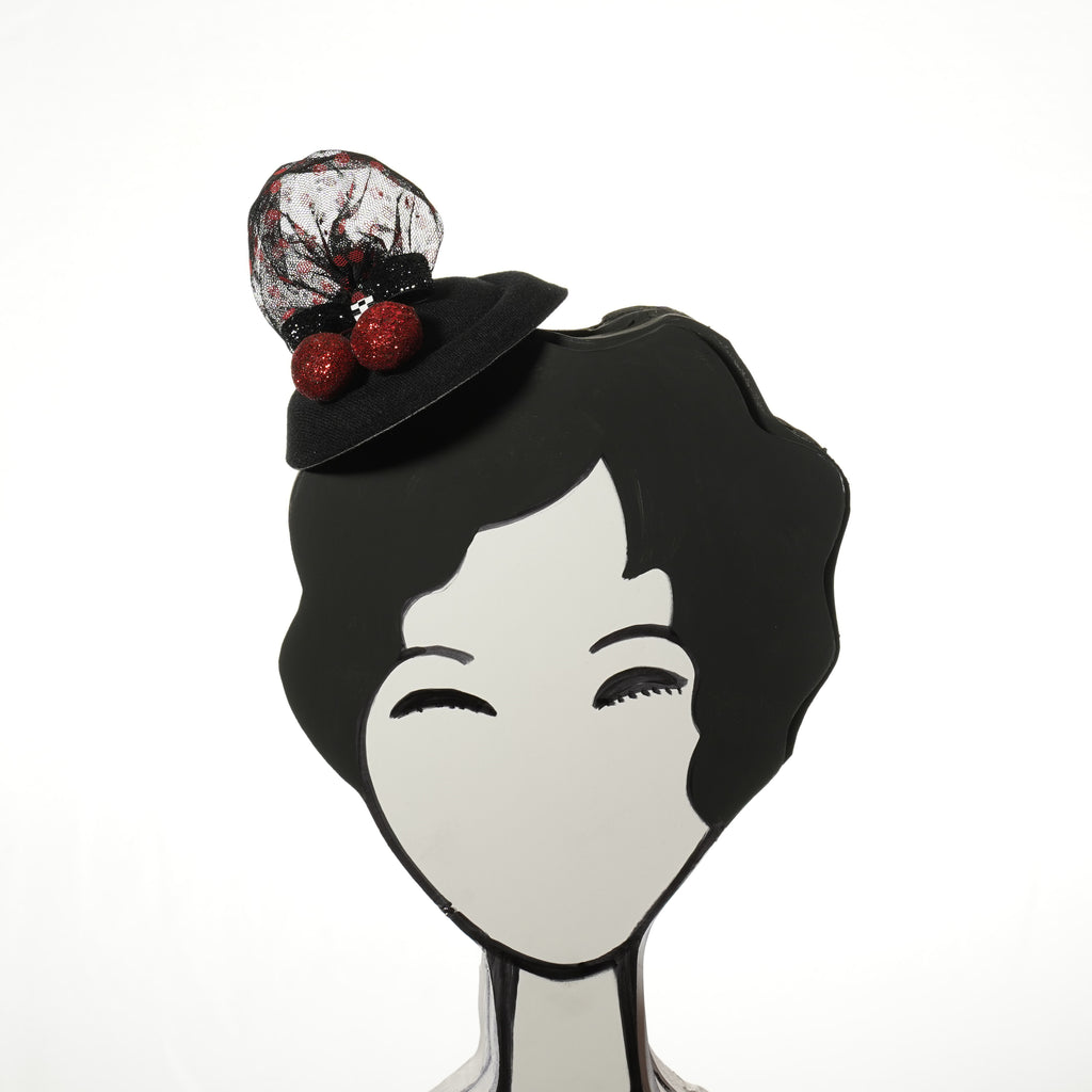 rockabilly glitter cherry fascinator by A Daily Obsession