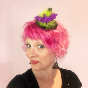 Mini Witch Hat with Glitter Bat