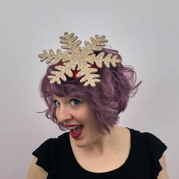 Gold Snowflake Fascinator, Christmas Snow Fascinator