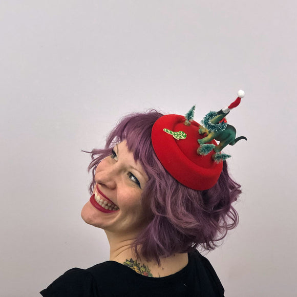 Christmas Dinosaur Fascinator, Christmas Fascinator