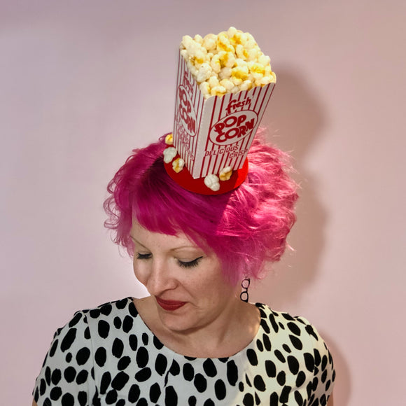 Buttered Popcorn Fascinator, Movie Theater Fascinator