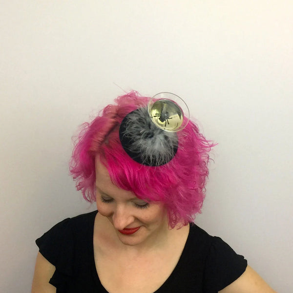 Creepy Black Fly Cocktail Fascinator, Insect Martini Fascinator