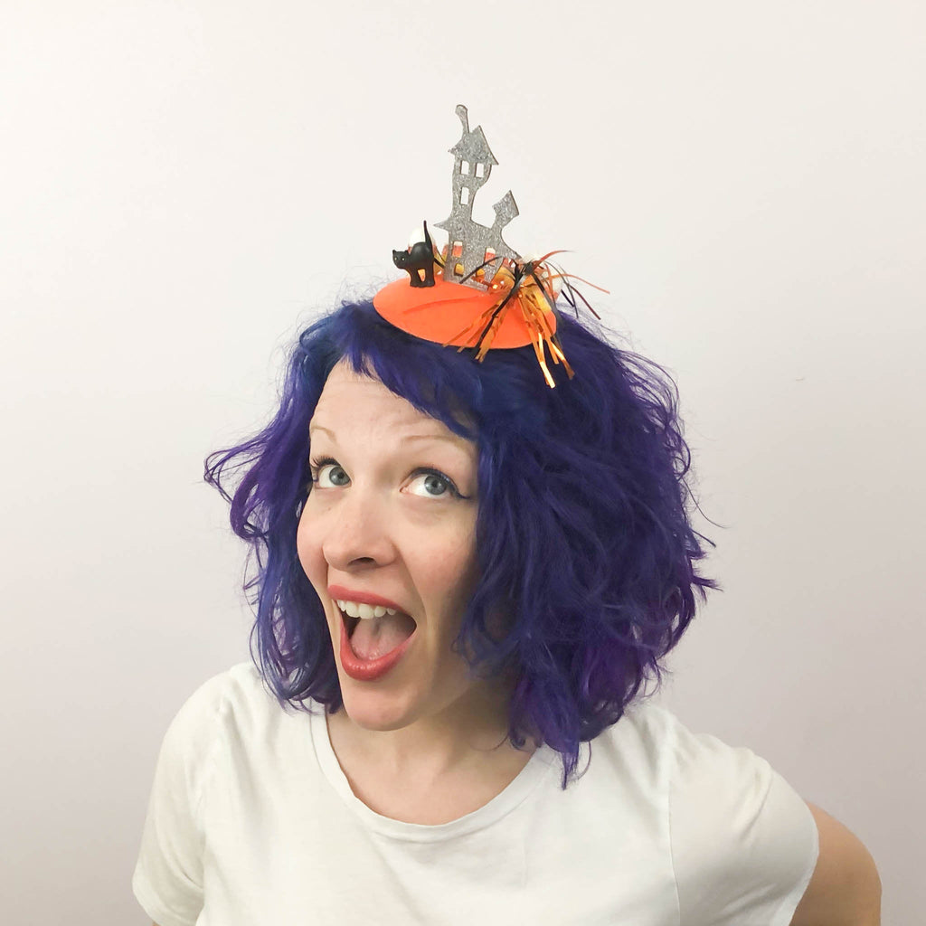 Haunted House in a Candy Corn Forest Halloween Fascinator, Halloween Headband