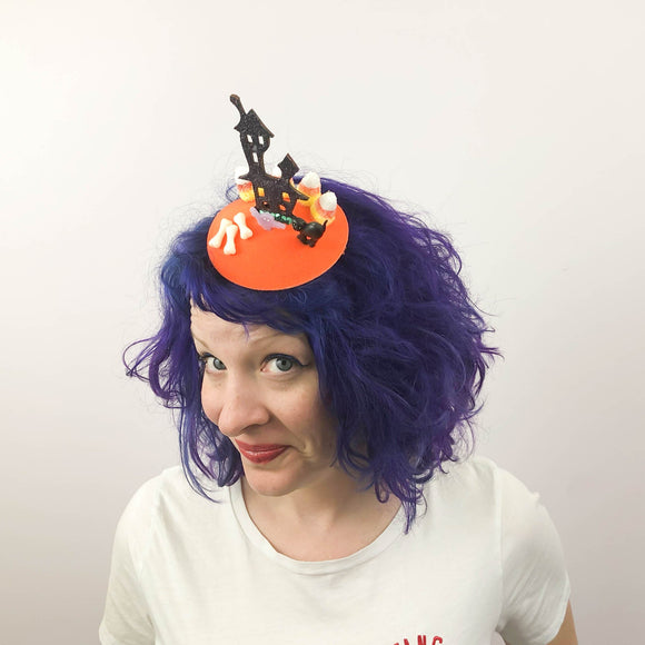 Haunted House and Candy Corn Graveyard Halloween Fascinator, Tablescape