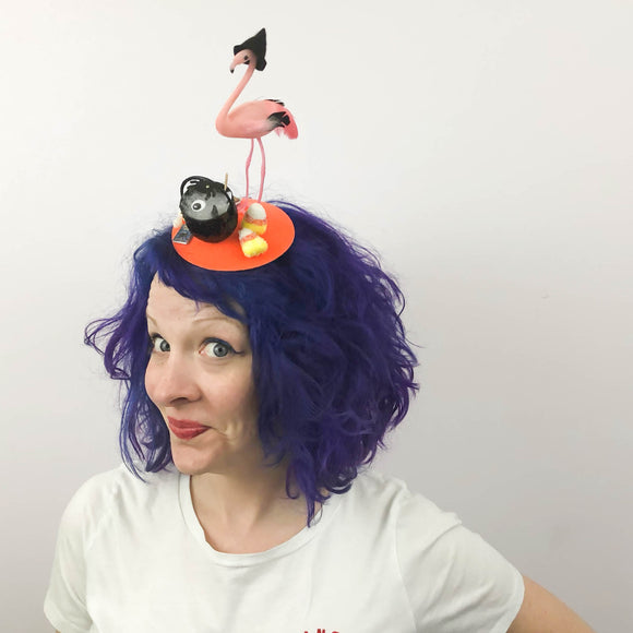 Flamingo Witch Magic Potion Halloween Fascinator, Halloween Headband